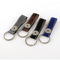 Кожа PU ключевых цепей, с медными застежками и ключевыми железными кольцами, платина, разноцветные, 110x20 мм(KEYC-R023-M)