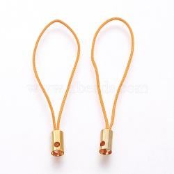 Нейлоновый шнур мобильные ремни, с фурнитурой латунной золотого тона, оранжевые, 50x4 мм; отверстие: 1.8 мм(MOBA-F005-03G-06)