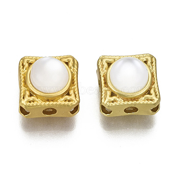 Brass Multi-Strand Links, with Resin, Square with Clover, Matte Gold Color, Creamy White, 10x10x6.5mm, Hole: 1.6mm(KK-N238-013)