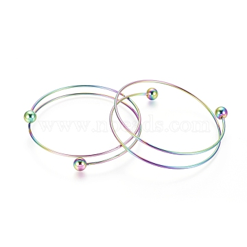 Vacuum Plating 304 Stainless Steel Bangles Making, Rainbow, Multi-color, 2-1/2 inches(6.5cm)(X-MAK-K019-01M)