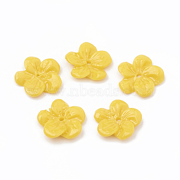 Dyed Synthetic Coral Bead Caps, Flower, Gold, 10~11x10.5~11x2mm, Hole: 0.8mm(CORA-N002-03H)