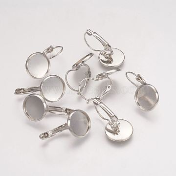 Flat Round Brass Leverback Earring Findings, Platinum, Size: Earring: about 13~14mm wide, 25~27mm long, Tray: 12mm inner diameter, Pin: 0.5mm(X-KK-H023-P)