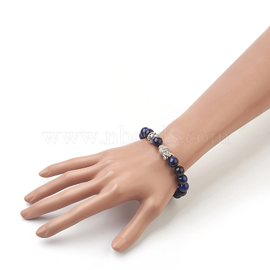Natural Lapis Lazuli Beads Stretch Bracelets(BJEW-JB03849-04)-4