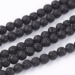 """Lave naturelle brins pierre de perles, rond, 4.5mm, trou: 0.5mm; environ 95 pcs/chapelet, 14.9""""(G-R193-18-4mm)"""