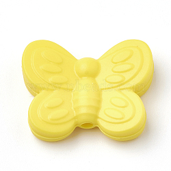 Food Grade Environmental Silicone Beads, Chewing Beads For Teethers, DIY Nursing Necklaces Making, Butterfly, Yellow, 20x25x6mm, Hole: 2mm(X-SIL-N001-01I)