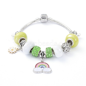 Brass European Bracelets, with Porcelain & Alloy Beads, Polymer Clay Rhinestone Beads and Alloy Enamel Pendants, Rainbow & Chrysanthemum, Yellow Green, 7-1/8 inches(18cm)(BJEW-JB05143-04)