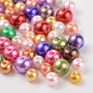 Glass Pearl Round Beads, Mixed Style, Mixed Color, 6~8mm, Hole: 1mm(HY-X0003)