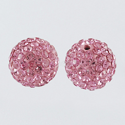 Pave Disco Ball Beads, Polymer Clay Rhinestone Beads, Round, Light Rose, 8mm, Hole: 1mm(X-RB-A170-8mm-4)