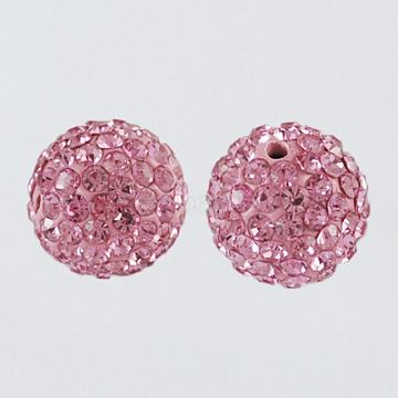 Perles de boule pavé disco , Perles de strass en argile polymère, rond, rose clair, 8mm, Trou: 1mm(X-RB-A170-8mm-4)