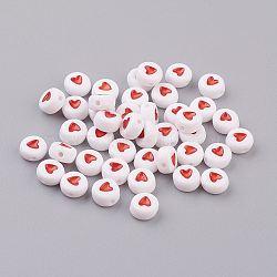 Perles acryliques rondes plates, blanc avec le coeur corail, Gentil pour création de le bracelet mères, taille: environ 7mm de diamètre, épaisseur de 3.5mm, Trou: 1mm(X-PB37C9070-2)