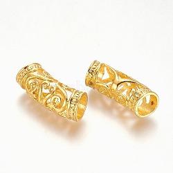 Perles tube, perles en alliage , creux, or, 26x10.5x9mm, Trou: 7mm(PALLOY-J154-56G)