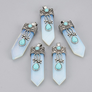 Opalite Pendants, with Alloy Findings, Sword, Antique Silver, 49~55x16x10~11mm, Hole: 6.5x3mm(X-G-S292-05F)