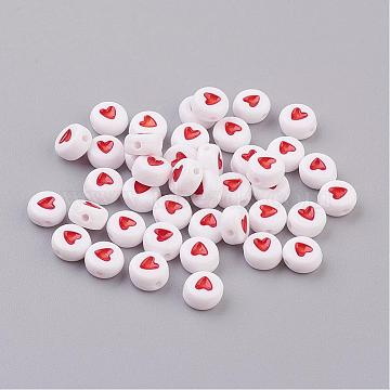 Flat Round Acrylic Beads, for Name Bracelets & Jewelry Making, White with Coral Heart, Nice for Mothers' Bracelet Making, Size: about 7mm in diameter, 3.5mm thick, hole: 1mm (X-PB37C9070-2)