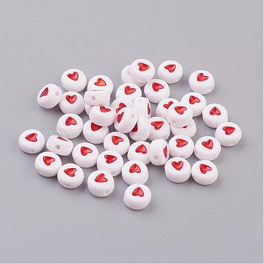 7mm Coral Flat Round Acrylic Beads