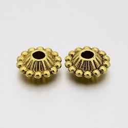 Séparateurs perles en alliage de style tibétain, sans plomb et sans cadmium, environ 11 mm de diamètre, épaisseur de 5mm, Trou: 3mm, Or antique(X-K096K031)