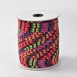 Cordes ethniques en tissu, cramoisi, 6 mm; environ 50 mètres / rouleau (150 pieds / rouleau)(OCOR-F003-6mm-13)