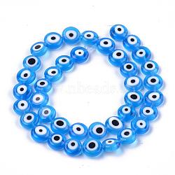 ручной сглаза бусины бисер нитей, плоские круглые, DeepSkyBlue, 9.5~10.5x3.5~4 mm, отверстия: 1.2 mm; о 38 шт / прядь, 14.1(LAMP-S191-02C-05)