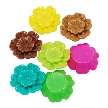 18mm Colorful Flower Resin Beads