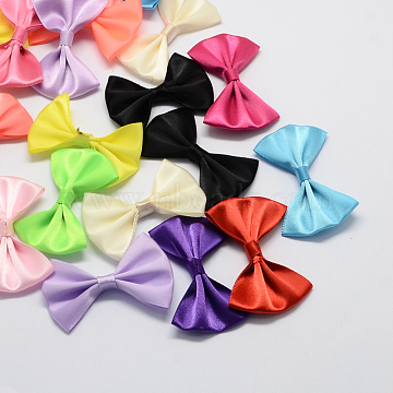 Handmade Woven Costume Accessories, Ribbon Bowknot, Mixed Color, 33x52x8mm(X-WOVE-R066-M)