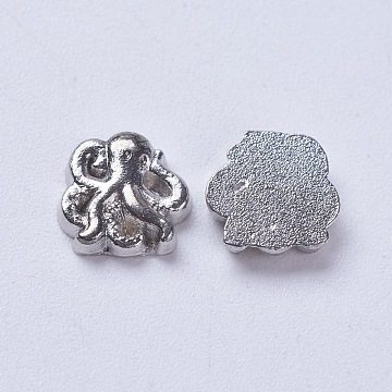 Alloy Cabochons, for DIY Floating Glass Living Memory Lockets, Octopus, Antique Silver, 8x8x2mm(PALLOY-WH0004-04AS)