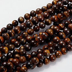 Gemstone Beads Strands, Grade B Tiger Eye, Round, about 8mm in diameter, hole: 1mm; about 46pcs/strand, 15.5inches