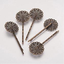 Accessoires bobby épingle à cheveux en laiton , fleur, bronze antique, plateau: 25 mm; 2x65x2 mm(KK-G037-AB)
