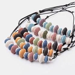 colliers de déclaration bavoir lave naturelle, avec cordon ciré et turquoise, couleur mélangée, 18.9(NJEW-O092-03)
