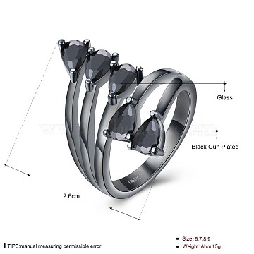 Trendy Brass Glass Finger Rings, Gunmetal, US Size 7(17.3mm)(RJEW-BB20194-C-7)