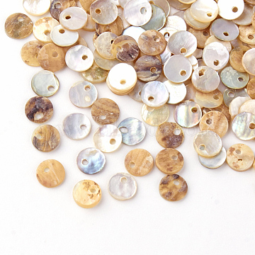 Natural Akoya Shell Charms, Mother of Pearl Shell Pendants, Flat Round, Camel, 6x1mm, Hole: 1mm(X-SHEL-Q008-13)
