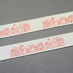 """Maison de bande dessinée de ruban de coton imprimé, tomate, 3/4"""" (20 mm); environ 20yards / rouleau (18.28m / rouleau)(OCOR-S025-05)"""