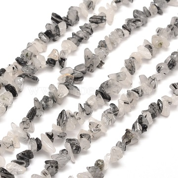 Natural Rutilated Quartz Chip Bead Strands, 5~8x5~8mm, Hole: 1mm, about 31.5 inches(X-G-M205-17)
