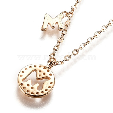 Brass Micro Pave Clear Cubic Zirconia Double Letter Pendant Necklaces(NJEW-Z010-13)-2