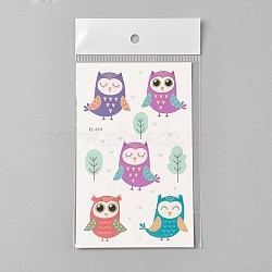 Removable Fake Temporary Tattoos, Water Proof, Cartoon  Paper Stickers, Owl, Colorful, 120~121.5x75mm(AJEW-WH0061-B10)