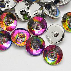 Boutons en acrylique à Taïwan, arc-en-ciel plaqué, 1-trou, cône à facettes, colorées, 10x8mm, Trou: 1mm(BUTT-F024-10mm-13)