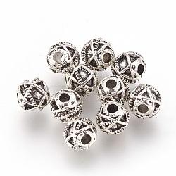 Perles en alliage, rond, argent antique, 6mm, Trou: 1.8mm(PALLOY-E454-53AS)