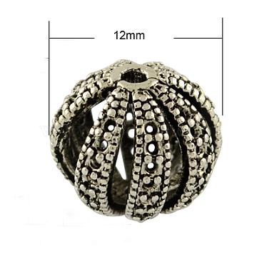 Brass Filigree Beads, Lead Free & Nickel Free, Round, Antique Silver, 12x11mm, Hole: 1mm(X-KK-P777-AS-FF)