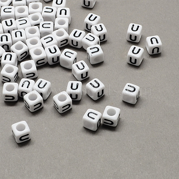 Large Hole Acrylic Letter European Beads, White & Black, Cube with Letter.U, 10x10x10mm, Hole: 4mm(X-SACR-Q103-10mm-01U)