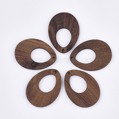 SaddleBrown Teardrop Wood Pendants