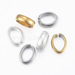 304 connecteurs rapides en acier inoxydable, anneaux de liaison, anneaux rapprochés mais dessoudés, ovale, couleur mélangée, 13x10x4 mm(X-STAS-H400-01)