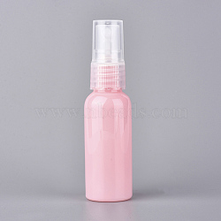 Round Shoulder Plastic Spray Bottles, with Fine Mist Sprayer & Dust Cap, Refillable Bottle, Pink, 10.35x2.72cm; Capacity: 30ml(MRMJ-WH0059-91)