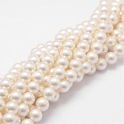 Shell Pearl Bead Strands, Loose Beads for Jewelry Making, Grade A, Round, FloralWhite, 6mm, Hole: 1mm; about 62pcs/strand, 16inches(BSHE-L026-03-6mm)
