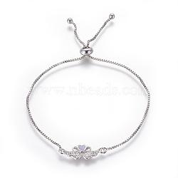 """Bracelets bolo réglables en laiton, Bracelets coulissants, chaînes de boîte, Avec de l'opale synthétique et de la zircone cubique, cygne avec coeur, platine, lilas, 9-5/8"""" (24.5 cm), 1mm(BJEW-L618-03P-A)"""