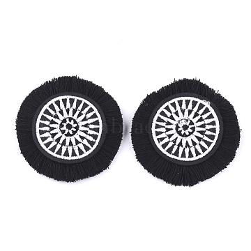Cotton Costume Accessories, Flat Round, Black, 48~49x7~8mm(FIND-T028-14)