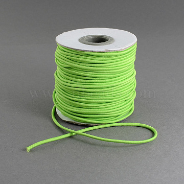Round Elastic Cord, with Nylon Outside and Rubber Inside, LawnGreen, 0.8mm; about 100m/roll(EC-R001-0.8mm-032A)