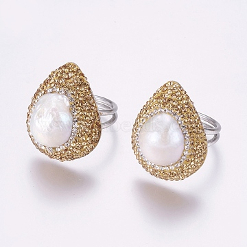 304 Stainless Steel Rings, with Polymer Clay Rhinestone and Pearl, teardrop, Size 8, Platinum, Goldenrod, 18mm(RJEW-E059-21A)