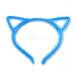 accessoires de cheveux constatations de la bande de cheveux de fer, avec faux tissu de crin, forme de chat, deepskyblue, 110 mm(OHAR-S195-03A)