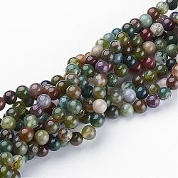 Gemstone Beads Strands, Natural Indian Agate, Round, about 6mm in diameter, hole: about 0.8mm; about 59~62pcs/strand, 15~16inches