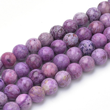 Natural Crazy Agate Beads Strands, Dyed, Round, Medium Orchid, 8~8.5mm, Hole: 1mm, about 47pcs/strand, 15.5 inches(X-G-Q462-132B-8mm)