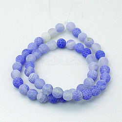 Natural Crackle Agate Beads Strands, Dyed, Round, Grade A, RoyalBlue, 8mm, Hole: 1mm; about 50pcs/strand, 14inches