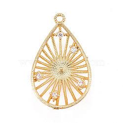 Pendentifs en laiton, avec zircons, pour la moitié de perles percées, goutte , clair, or, 23.5x14.5x4.5mm, trou: 1.2 mm; diamètre intérieur: 12 mm; goupille: 1mm(KK-L177-20G)